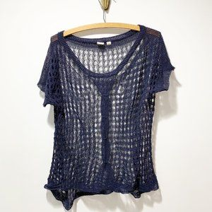 Anthropologie Yellow Bird Crochet Knit Top Blouse Size Small Navy Blue